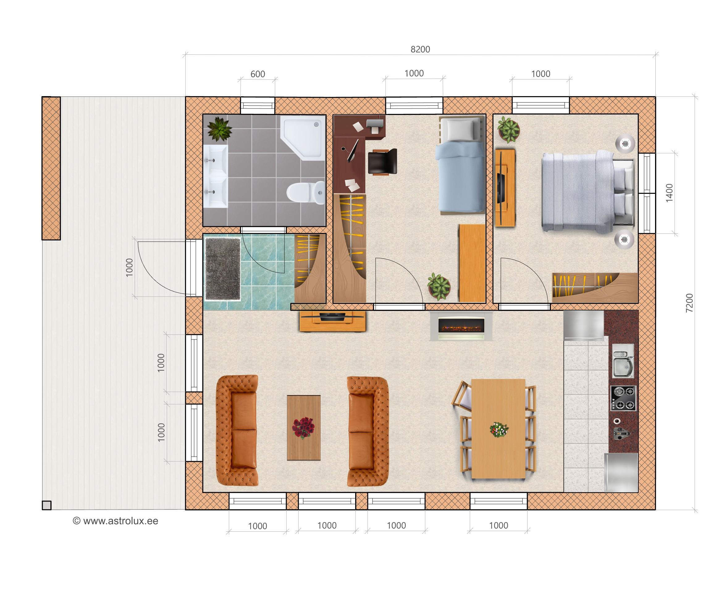 Elementmaja moodulmaja A59 plaan